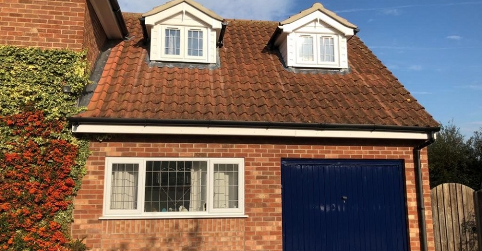 Dorma windows on garage conversion Norfolk